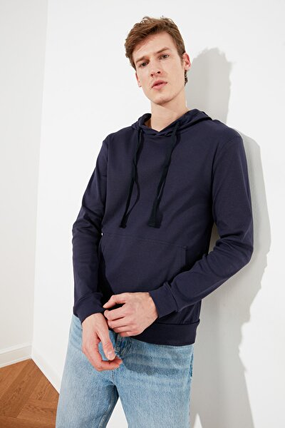 Lacivert Erkek Kapüşonlu Regular T-Shirt TMNAW21TS0228