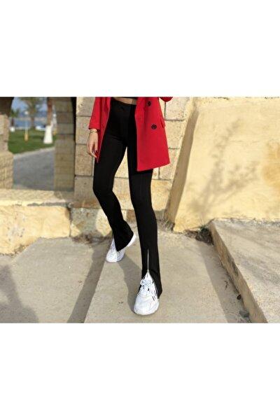 Kadın Siyah Paçası Fermuarlı Tayt Pantolon