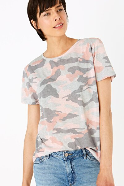 Kadın Gri Desenli Yuvarlak Yaka T-Shirt T41008975