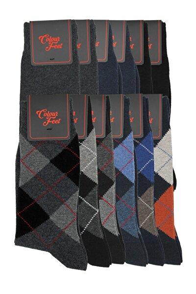 12'li Paket Siyah-gri-lacivert Düz Ve Baklava Desen Erkek Çorap