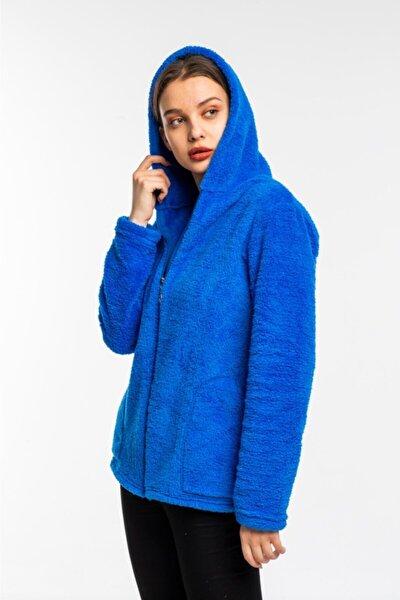 Kadın Saks Mavisi Fermuarlı Polar Hırka
