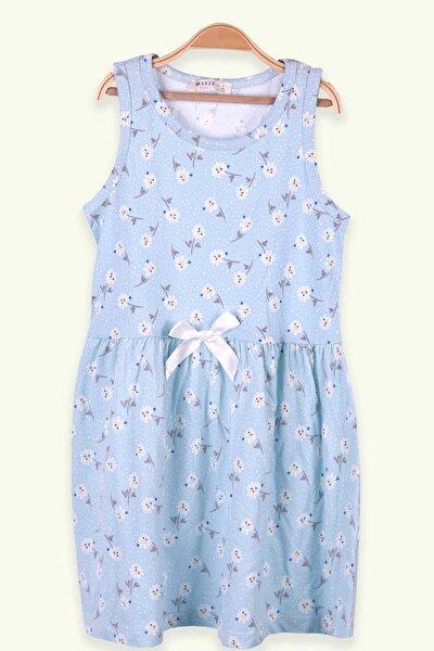 Kız Çocuk Elbise Çiçek Desenli Fiyonklu Bebe Mavisi (7-10 YAŞ)