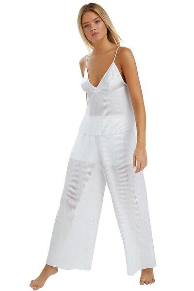 Kadın Ekru Pileli Pijama Takımı 3971