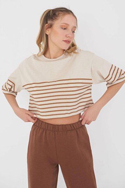 Kadın Bej Kahve Çizgili T-Shirt B115 - U6 Adx-0000023871