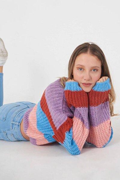 Kadın Renkli Blok Renk Kazak K3119 - E5 Adx-0000023731
