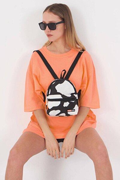 Kadın Siyah Beyaz Fermuar Detaylı Çanta Ç2227 - F13 Adx-0000023860