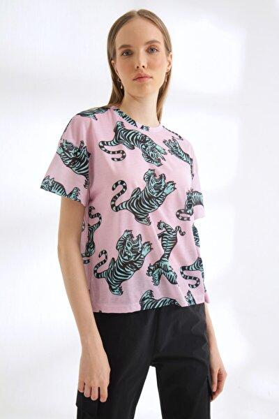 Kadın Pembe Dijital Baskı T-shirt
