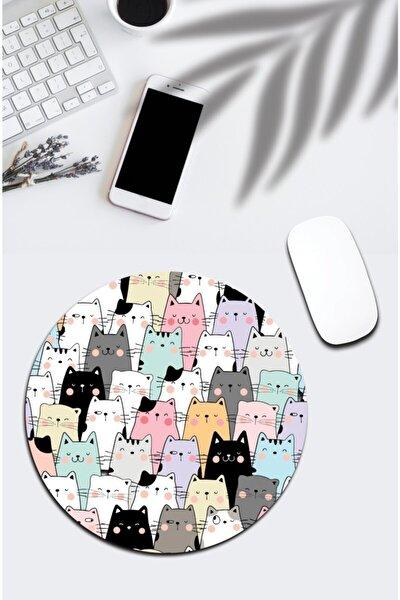 Karışık Renkli Kedili Yuvarlak Mouse Pad 850