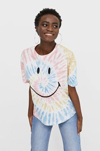 Kadın Beyaz Batik Smiley T-Shirt 02637606