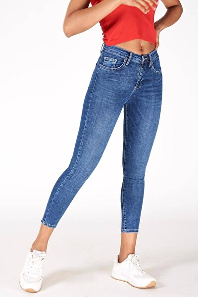 Kadın Kot Rengi Orta Bel Pantolon Pn5799 - Pnr ADX-0000016979