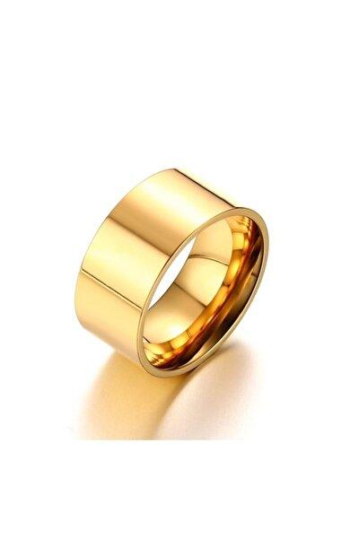Unisex 10 mm. Geniş Gold Sarı Çelik Alyans Yüzük dt02