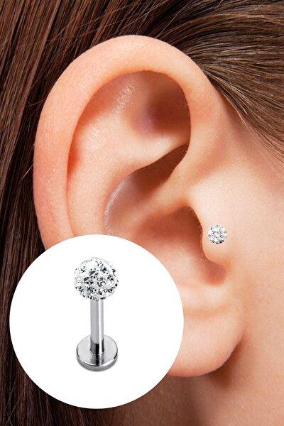 Kristal Taşlı Cerrahi Çelik Tragus Piercing 6 mm