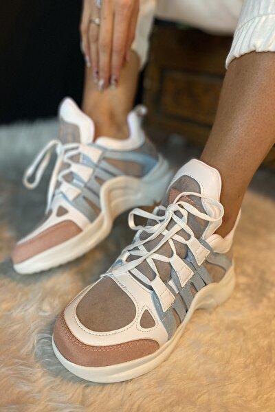Kadın Beyaz 1. Kalite Suni Deri  Spor Ayakkabı