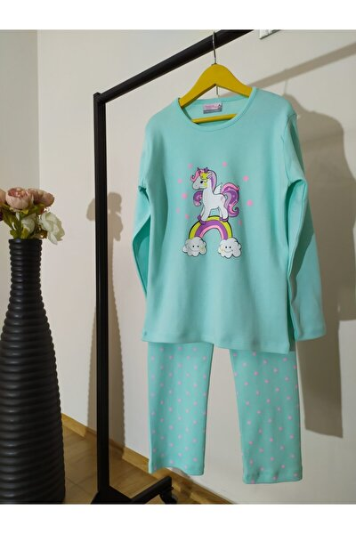 Kız Çocuk Mint Yeşili Unicorn  Pijama Takımı