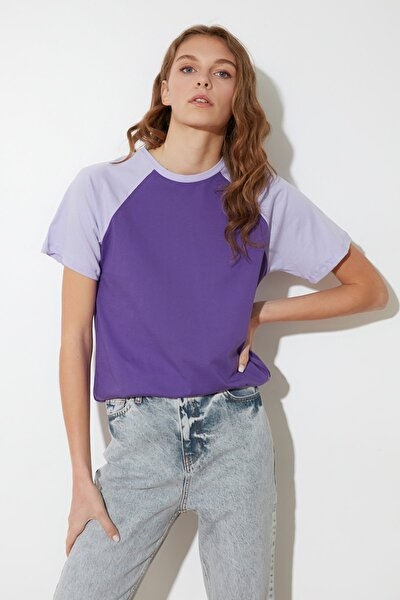 Mor Reglan Kol Basic Örme T-Shirt TWOSS20TS0772