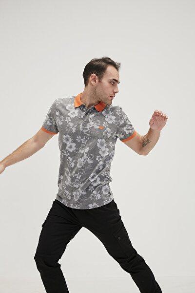 Erkek Gri Turuncu Flower Pique Polo Yaka Tişört