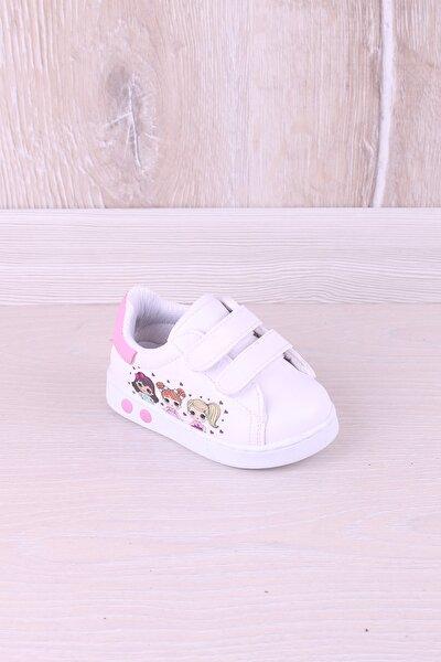 Kız Bebek Beyaz Baskılı İlk Adım Antibakteriyel Ortopedik Ayakkabı