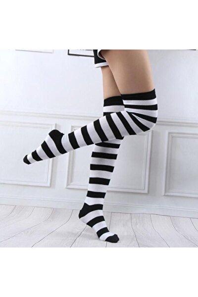 Kadın Siyah Beyaz Çizgili  Gotik Punk Diz Üstü Çorap
