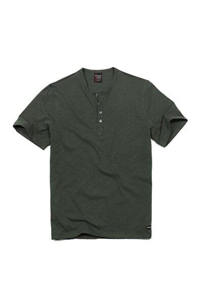 Brodıe Erkek Pamuklu Kısa Kollu Düğmeli T-shirt Koyu Yeşil