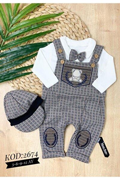 Erkek Bebek Kahverengi Kasketli Papyonlu Slopet Tulum Takım