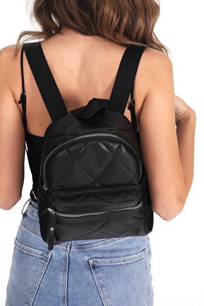 Kadın Siyah Kapitone Mini Sırt Çanta
