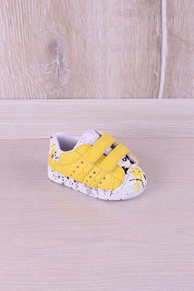 Antibakteriyel Ortopedik Baskılı Ilk Adım Çocuk Ayakkabı Beyaz Sarı
