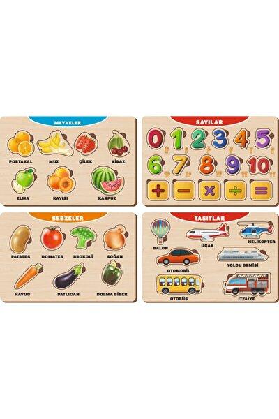 4 Adet Ahşap Bul Tak Eğitici Yapboz Puzzle Seti 10