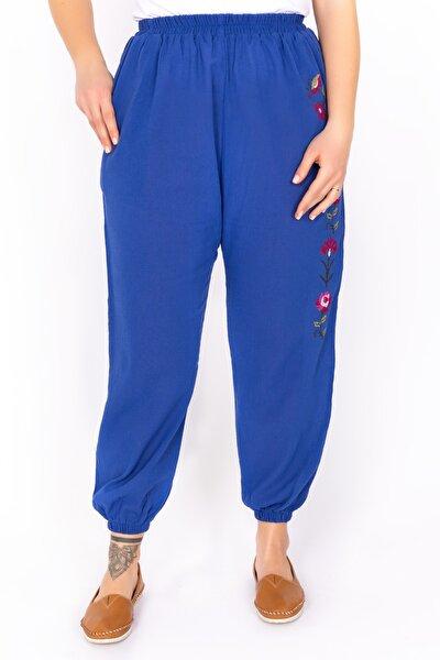 Kadın Mavi Şile Bezi Nakışlı Pantolon