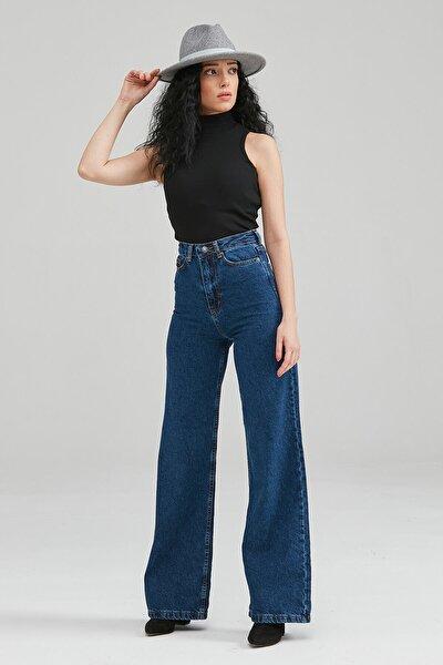 Kadın Orta Mavi Bol Paça Kot Pantolon