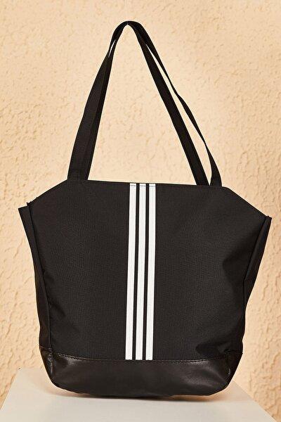 Bag Kadın Siyah Beyaz Çizgili Alt Kısmı Deri Detaylı Omuz Çantası Cnt204