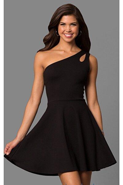 Siyah Esnek Kumaş Tek Omuz Mini Elbise