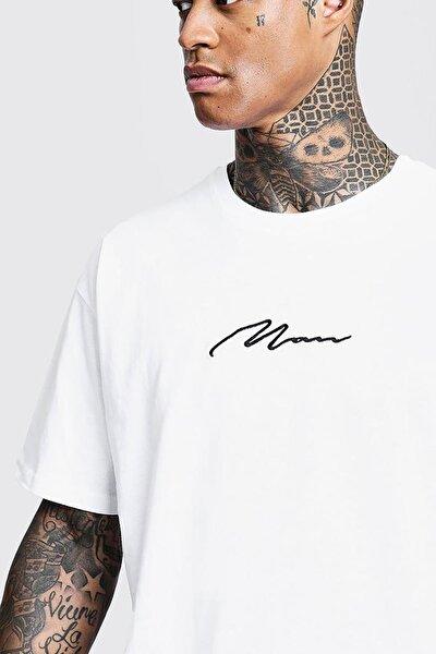 Man Imza Detaylı Oversize T-shirt
