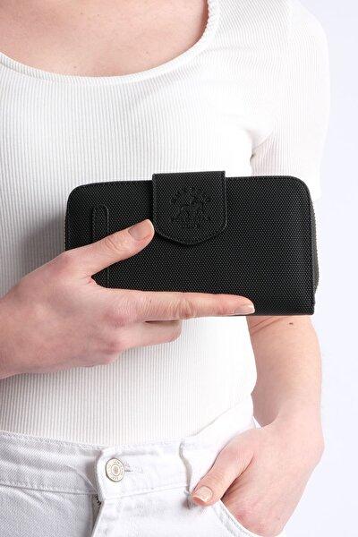 Kadın Siyah Telefon Bölmeli Cüzdan Tenir