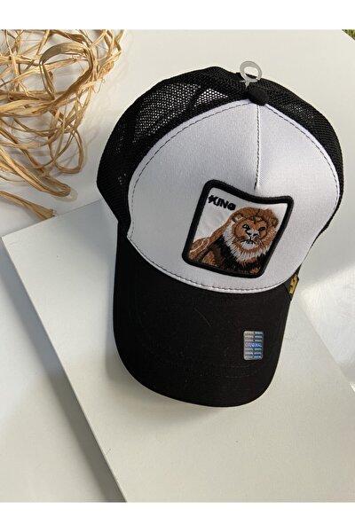 Unisex Desenli Beyaz Siyah Şapka
