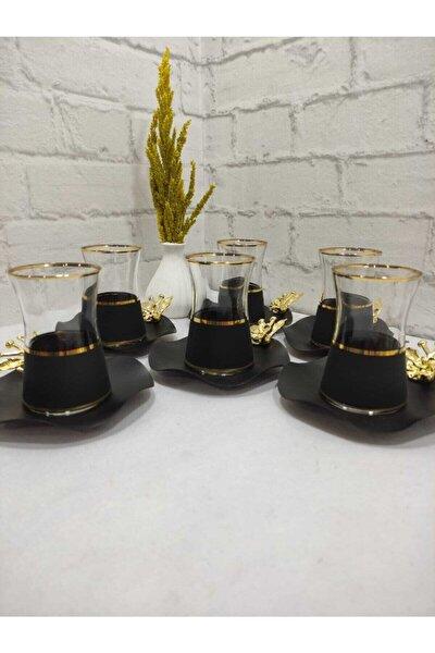 Mat Siyah Özel Tasarım Çay Seti 6 Kişilik