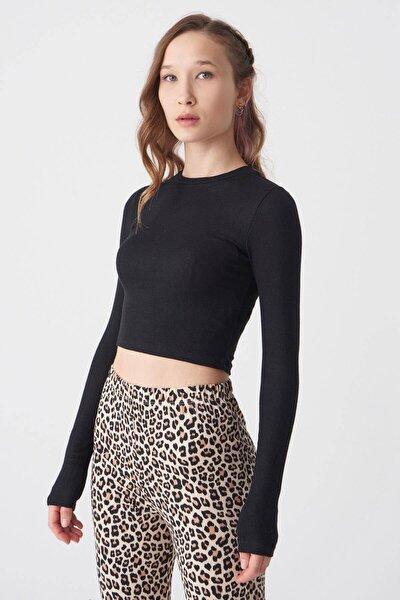 Kadın Siyah Uzun Kollu Bluz P1017 - K12 ADX-0000022662