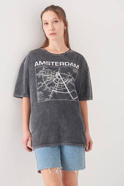 Kadın Füme Baskılı T-Shirt P0944 - X2 Adx-0000022305