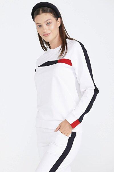 Kadın Paçası Ribanalı Eşofman Takım - Beyaz