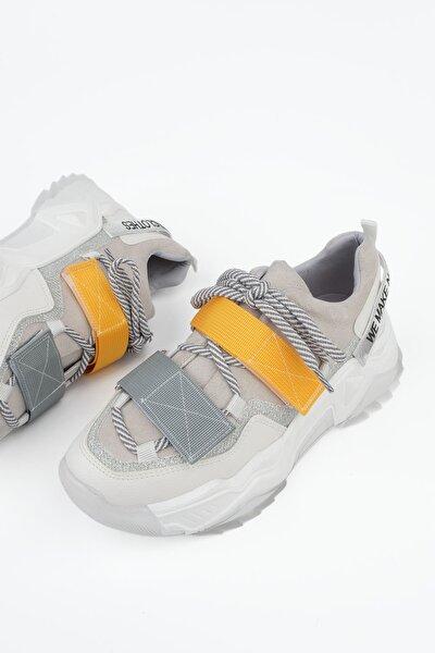 Kadın Beyaz Sneaker Dolgu Topuk Spor Ayakkabı Farley