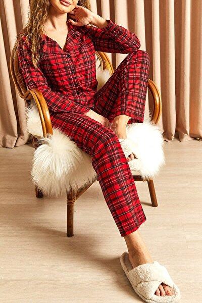 Ekoseli Düğmeli Pijama Takımı Kırmızı