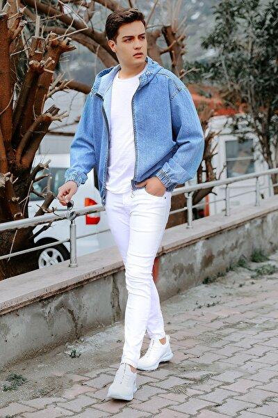 Erkek Beyaz Cepli Slim Jean Pantolon