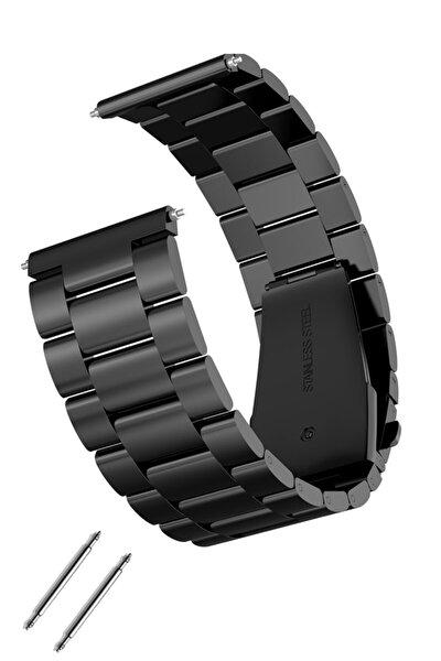 Saat Uyumlu 22mm Siyah Renk Paslanmaz Çelik Metal Saat Kordonu