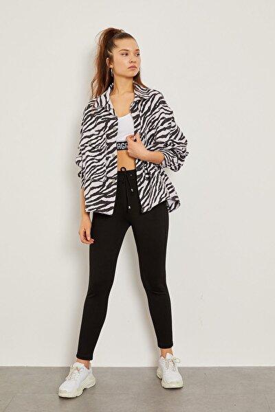Zebra Desen Gabardin Ceket