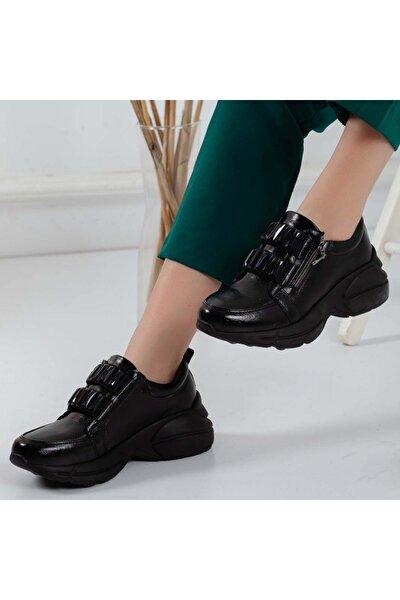 Siyah Taşlı Fermuarlı Poli Taban Spor Ayakkabı