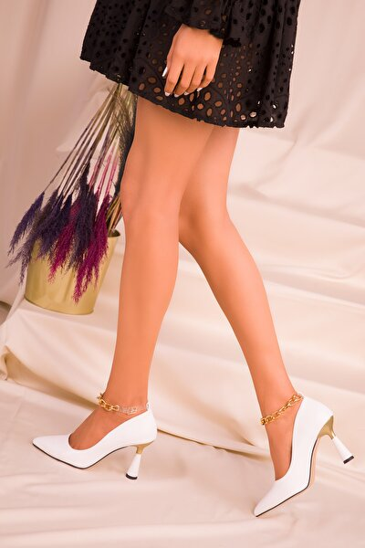 Beyaz Kadın Klasik Topuklu Ayakkabı 15632