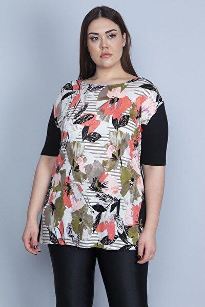 Kadın Siyah Önü Çiçek Desenli Viskon Bluz 65N23110