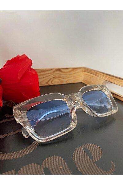 Mia Kalın Çerçeveli Tasarım Gözlük Şeffaf Çerçeve Mavi Cam