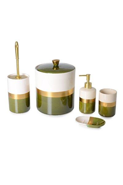 Lüks Yeşil Altın Yaldızlı 5'li Banyo Seti