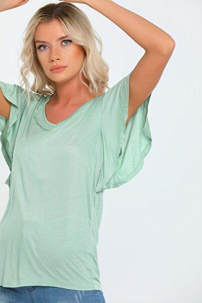 Kadın Yeşil V Yaka Yarasa Kol Oversize T-shirt