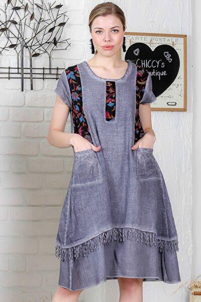Kadın Gri Tülbent Detaylı Cepli Etek Ucu Saçaklı Yıkamalı Astarlı Elbise M10160000EL95331